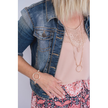 Rose Gold Double Chain & Ring Necklace
