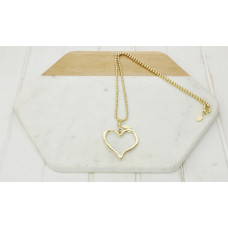 Gold Ball Chain & Open Heart Necklace