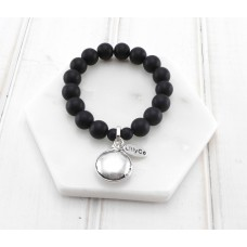 Black Beads With Silver Disc Bracelet