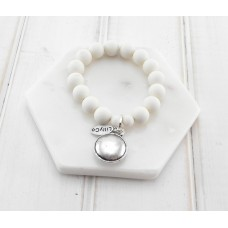 White Beads With Silver Disc Bracelet