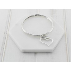 Silver Bangle with Heart Pendant Bangle