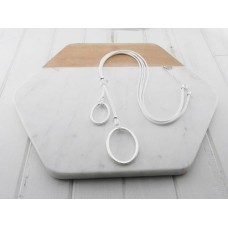 White Wax Oval Pendants Necklace
