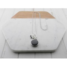 Grey Resin Pendant Necklace
