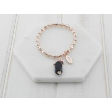 Rose Gold & Black Stone Bracelet