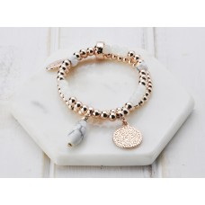 Rose Gold & White Bead Bracelet