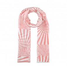 White / Coral Stripe Pattern Scarf