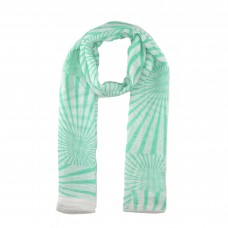 White / Green Stripe Pattern Scarf