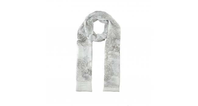 Brown /White Paisley Print Scarf