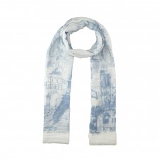 Blue / White Paris Print Scarf