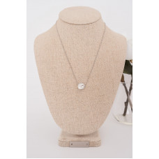 Fine - Silver Round Crystal Necklace