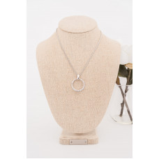 Fine - Silver Cubic Zirconia Ring Necklace