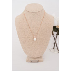 Fine - Rose Gold Crystal & Pearl Necklace
