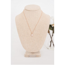 Fine - Rose Gold Small Cubic Zirconia Disc Necklace