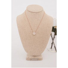 Fine - Rose Gold Chain with Cubic Zirconia Crystal Necklace
