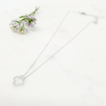 Fine - Silver Flower Crystal Necklace