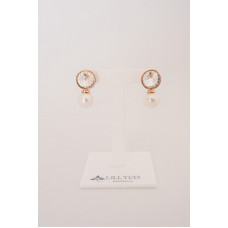 Fine - Rose Gold Cubic Zirconia & Pearl Earring