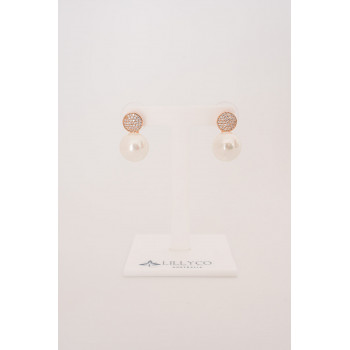 Fine - Rose Gold Crystal & Pearl Earring
