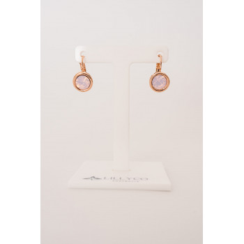 Fine - Rose Gold with Pink Opal Earring