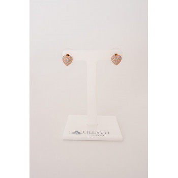 Fine - Rose Gold Heart Crystal Earring