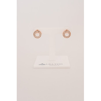Fine - Rose Gold Circle Crystal Earring