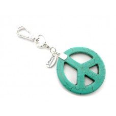 Turquoise Stone Peace Key Ring