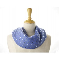 Blue with Silver Metallic Foil Dots Scarf