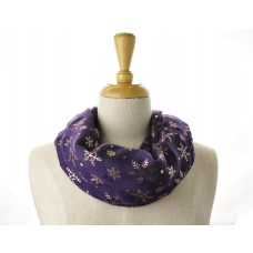 Purple with Rose Gold Metallic Foil Snow Flakes scarf