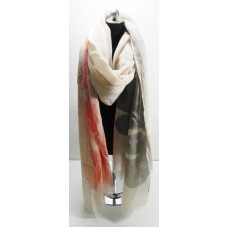 Cream Big Leaf Scarf