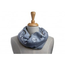 Grey & Silver Metallic Foil Open Heart Scarf