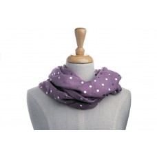 Purple & Silver Metallic Foil Print Dot Scarf
