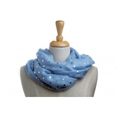 Duck Egg Blue with Silver Metallic Foil Dot Scarf