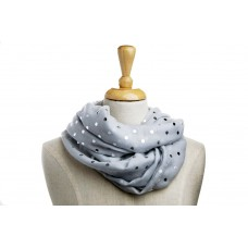 Grey with Silver Metallic Foil Dot Scarf
