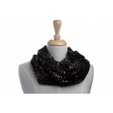 Black & Gold Metallic Foil Flower Scarf