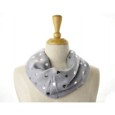 Grey with Silver Metallic Foil SMALL Heart Scarf