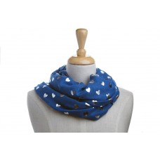 Navy with Silver Metallic Foil LARGE Heart Scarf