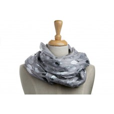 Grey & Silver Metallic Leaf Scarf