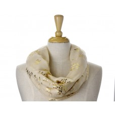 Cream Little Fish Metallic Foil Print Scarf