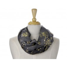 Dark Grey Little Fish Metallic Foil Print Scarf