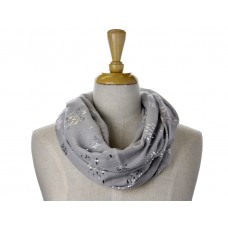 Grey Little Fish Metallic Foil Print Scarf
