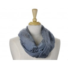 Soft Navy Little Fish Metallic Foil Print Scarf