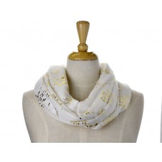 White Little Fish Metallic Foil Print Scarf