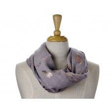 Grey Open Feather Metallic Foil print Scarf