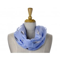 Lite Blue Open Feather Metallic Foil Print Scarf