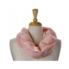 Pink Open Feather Metallic Foil Print Scarf
