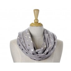 Grey with Silver Metallic Foil Print Swallows Scarf