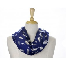 Blue with Solid Foil Metallic Feather Scarf