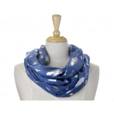 Soft Navy with Solid Foil Metallic Feather Scarf