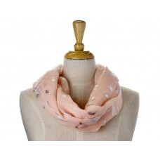 Pink with Solid Foil Metallic Feather Scarf