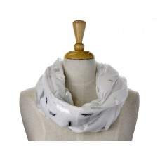 White with Solid Foil Metallic Feather Scarf