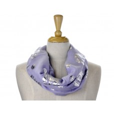 Purple Big/Small Dots Foil Metallic scarf